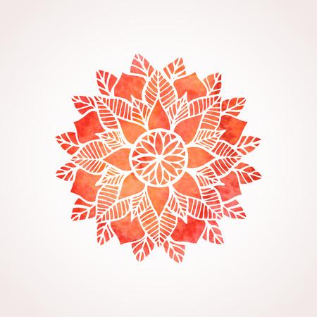 mehendi: Watercolor red mandala. Geometric circled element for design. Lace flower pattern on white background. Vector illustration Illustration