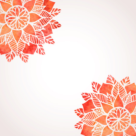 background pattern: Illustration with red hand drawn watercolor floral pattern. Abstract lace round ornament. Indian, oriental, native ethnic style pattern. Vector background