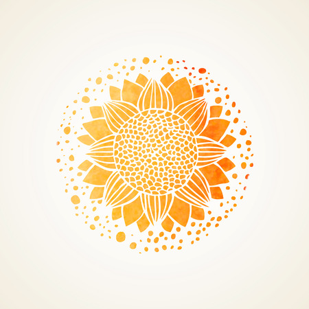 sun oil: Watercolor sunny mandala. Stylized sunflower. Element for design. Lace yellow pattern on white background. Vector illustration
