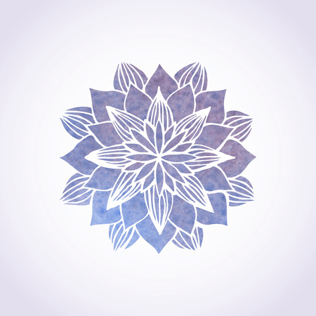 Watercolor violet mandala. Geometric circled element for design. Lace flower pattern on white background. Vector illustration