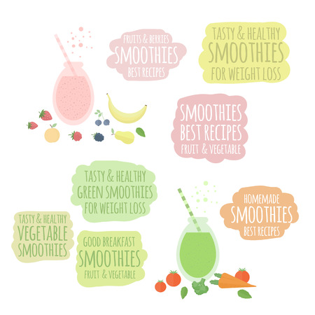 blended: Set of vector elements. Fruit, berry and vegetable green smoothies in jars isolated on white background. Set of labels, badges, banners Illustration