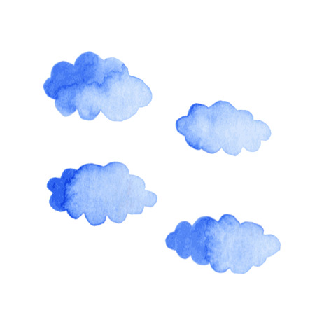 blue clouds: Watercolor blue clouds isolated on white background. Decorative elements. Vector illustration Illustration