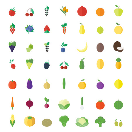 Fruits, berries and vegetables in flat design. Set of icons, elements isolated on  white background. Vector illustration