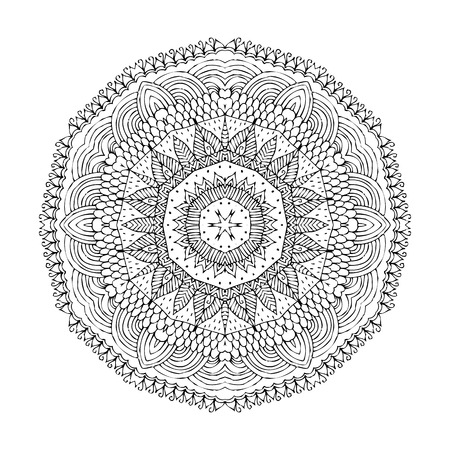 oriental vector: Mandala. Black silhouette isolated on white background. Ethnic oriental indian pattern. Round ornamental shape. Vector decorative element