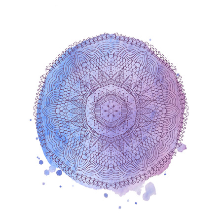 Watercolor mandala. Lace hand-drawn ornament on watercolor texture and splashes. Round pattern in oriental ethnic style. Vector element isolated on white background Ilustrace
