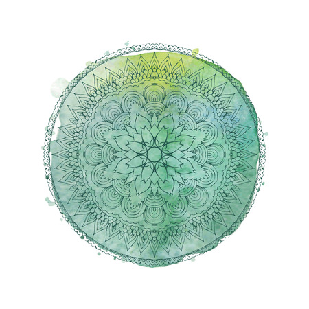 Watercolor mandala. Lace hand-drawn ornament on watercolor texture and splashes. Round pattern in oriental ethnic style. Vector element isolated on white background Vettoriali
