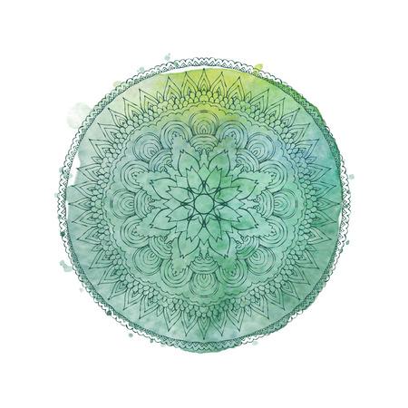 Aquarel mandala. Lace hand getekende ornament op aquarel textuur en spatten. Rond patroon in oosterse etnische stijl. Vector element op een witte achtergrond Stock Illustratie