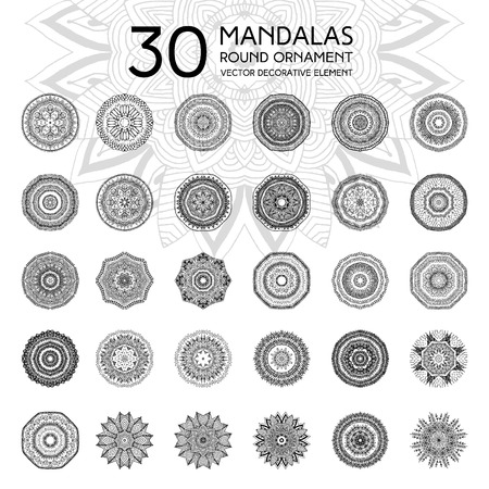 Set of mandalas. Ethnic oriental symbols. Geometric symmetry round patterns. Black and white circle decorative elements in vector for design