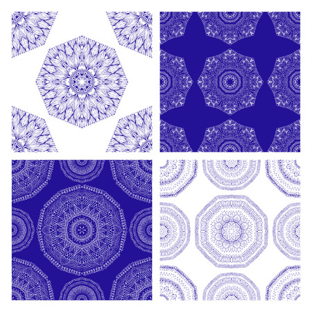 indian ocean: Vector set of seamless geometric patterns in oriental style. Ornamental background in blue and white colors. Boho style. Round patterns Illustration