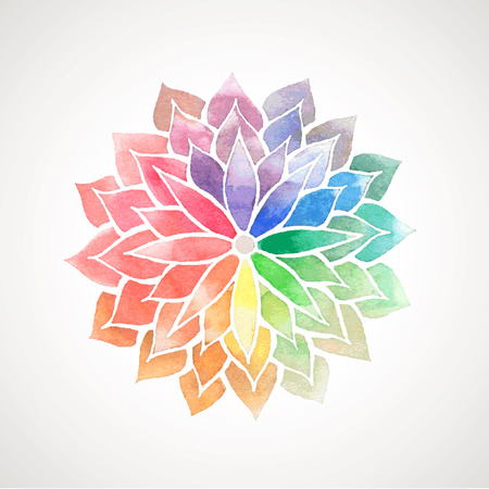 Rainbow watercolor painted flower. Vector decorative element for design. Logo template. Artistic creative concept