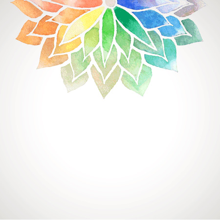 Card with rainbow watercolor painted flower. Vector decorative illustration for design of banners, invitation, packing.  Artistic creative concept