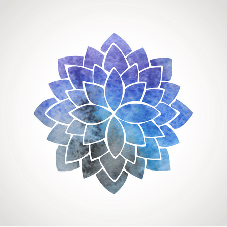 flower logo: Watercolor lotus flower with space background. Symbol of meditation, Indian culture, oriental practices, yoga, universe. Vector decorative element. Logo template Illustration