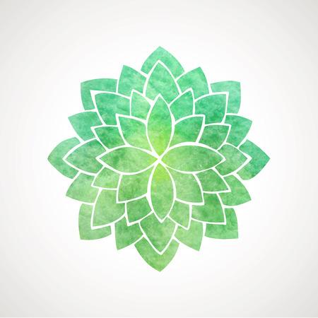 녹색 색상의 수채화 연꽃. 동양 인도 관행, 요가, 명상, 건강의 상징. 벡터 장식 요소입니다. 로고 템플릿