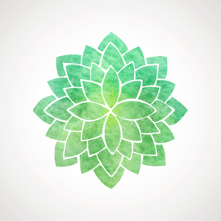 Watercolor lotus flower in green color. Symbol of oriental indian practices, yoga, meditation, health. Vector decorative element. Logo template