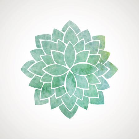 turquesa: Flor de la acuarela de color turquesa. Vector elemento decorativo. Plantilla de logotipo Vectores