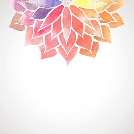 nature abstract: Card with rainbow watercolor painted flower. Vector decorative illustration for design of banners, invitation, packing. Artistic creative concept