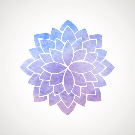 Watercolor lotus flower in blue and violet colors. Symbol of india, oriental practices, yoga, meditation. Vector decorative element. Logo template  イラスト・ベクター素材