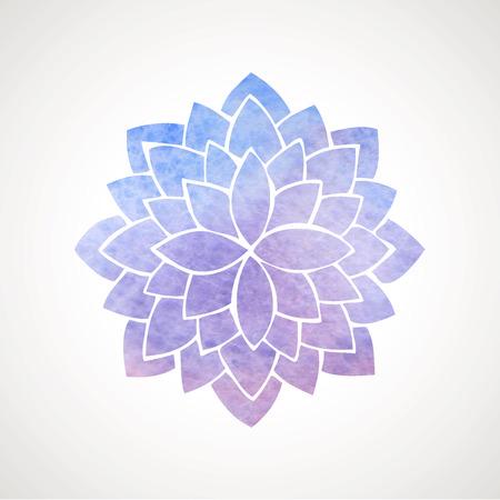 파란색과 보라색 색상의 수채화 연꽃. 인도, 동양 관행, 요가, 명상의 상징. 벡터 장식 요소입니다. 로고 템플릿 일러스트