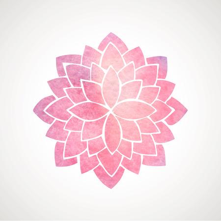 Acuarela de loto rosa. Mandala. Indian elemento círculo oriental para el diseño. Patrón de flores sobre fondo blanco. Ilustración vectorial