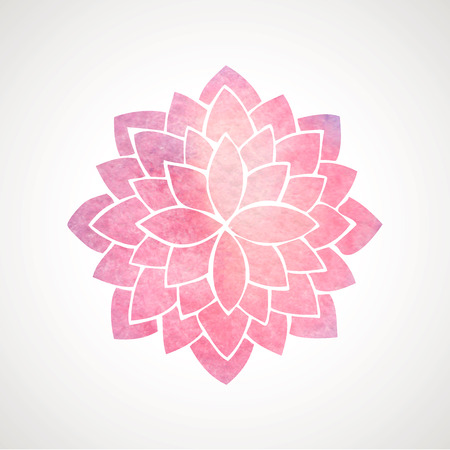Watercolor pink lotus. Mandala. Indian oriental circled element for design. Flower pattern on white background. Vector illustration