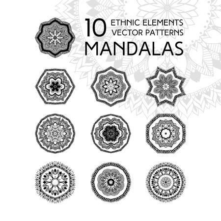 mandala: Set of mandalas. Ethnic oriental symbols. Geometric symmetry round patterns. Black and white circle decorative elements in vector for design