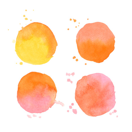 Set of vector watercolor art elements. Colorful orange watercolor round shapes. Splashes stains isolated on white background Ilustração