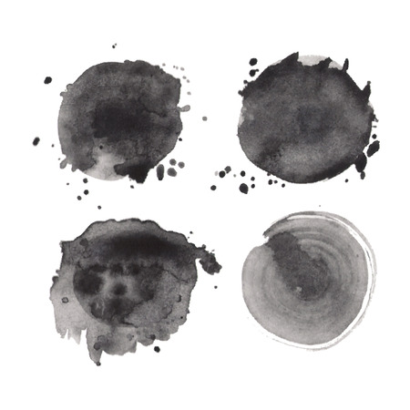 Set of watercolor black round shapes. Hand-drawn monochrome splashes stains textures on white background. Vector elements