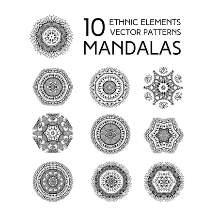 symmetry: Set of mandalas. Ethnic oriental symbols. Geometric symmetry round patterns. Black and white circle decorative elements in vector for design