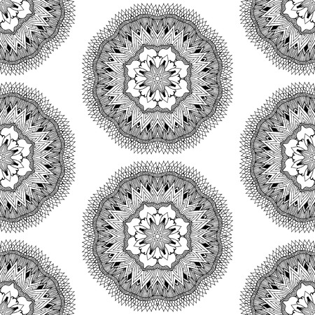 symmetry: Seamless pattern in ethnic style. Black and white geometric symmetry hand drawn ornament. Boho, oriental, vintage style. Vector pattern Illustration