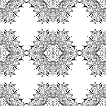 symmetry: Seamless pattern in ethnic style. Black and white geometric symmetry hand drawn ornament. Boho, oriental , vintage style Illustration