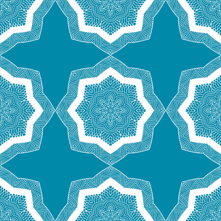 oriental vector: Seamless geometric pattern in ethnic oriental style. Abstract ornamental background in blue and white colors. Vector illustration in boho, vintage style for design of fabric, invitation, card Illustration