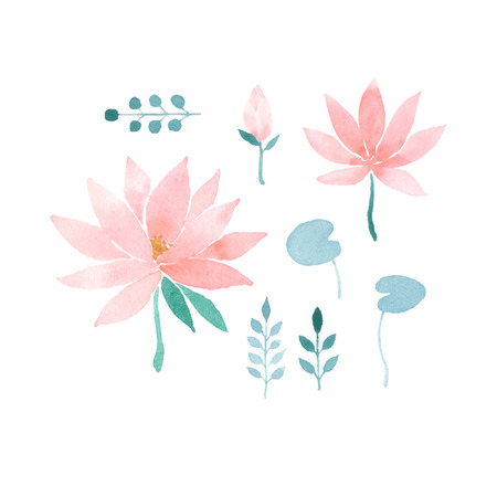 ayurveda: Watercolor floral set with pink lotus flowers