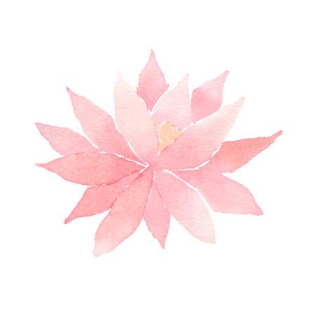 Watercolor lotus flower pink. Vettoriali