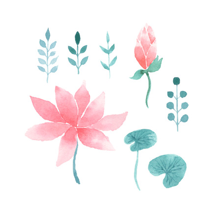 water on leaf: Watercolor floral set with pink lotus flowers