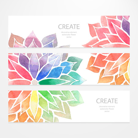 color illustration: Colorful banners, flyers. Vector templates of design with watercolor rainbow flowers on white background. Art concept. Flower crop, but you can find it in my portfolio