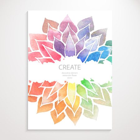 Watercolor rainbow flowers on white background.  Illustration