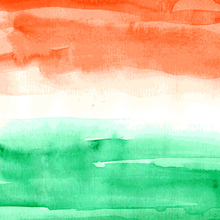 Watercolor background Indian Flag for Indian Independence Day.