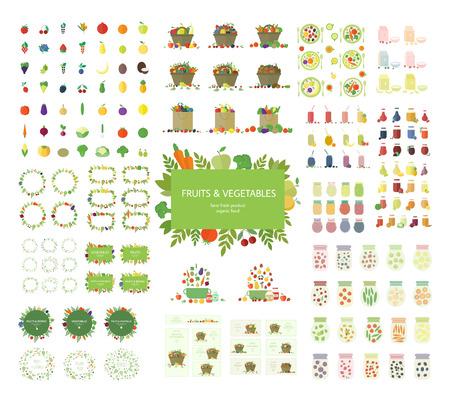 canastas de frutas: Colección de frutas, verduras y elementos de cocina, iconos aislados sobre fondo blanco.