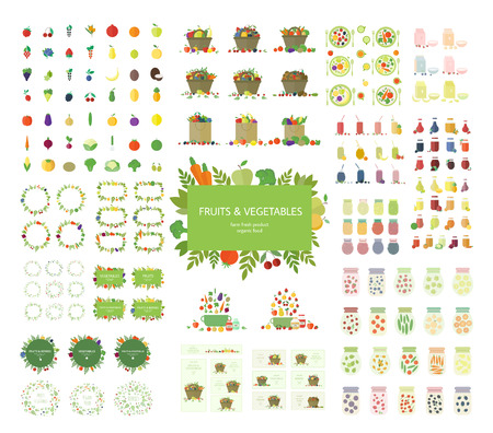 Collection of fruits, vegetables, and kitchen elements, icons isolated on white background.  Illustration