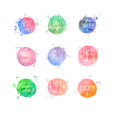 Watercolor sale shopping and vegan cafe labels. Vector. Round watercolor shapes, and splashes, and text Ilustração