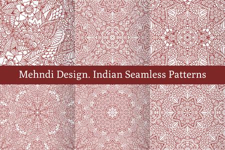 textil: Conjunto de patrones sin fisuras étnicas en estilo indio oriental.