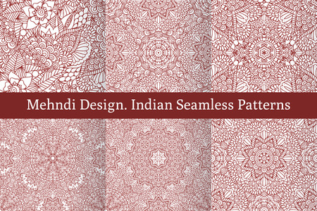 Set of ethnic seamless patterns in oriental indian style.