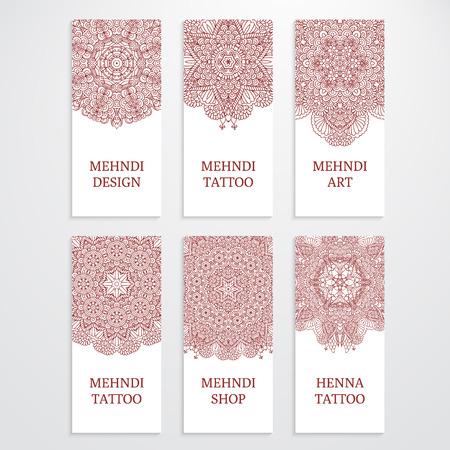 mehendi: Set of flyer, vertical banner templates.