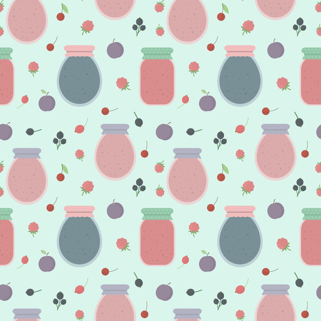 preserves: Homemade jam. Seamless pattern with fruits and berries, and jars of jam. Vector background for design of wallpaper, wrapping paper, textile and package design Illustration