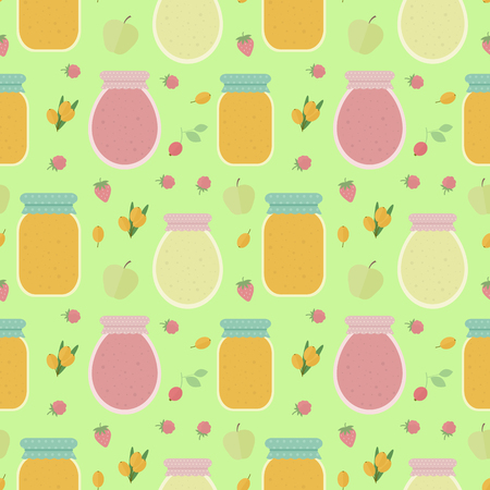 Homemade jam. Seamless pattern with fruits and berries, and jars of jam. Vector background for design of wallpaper, wrapping paper, textile and package design Ilustração