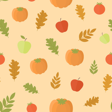 autumn leaves background: Seamless background with pumpkins and leaves, apples, autumn pattern in orange. Vector illustration