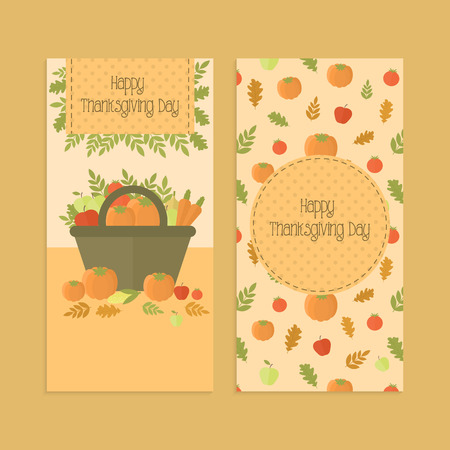 Set of banners, flyers for Thanksgiving Day with basket with vegetables, pumpkin, pattern in orange. For menu, invitation or shopping list templates. Vector illustration Ilustração