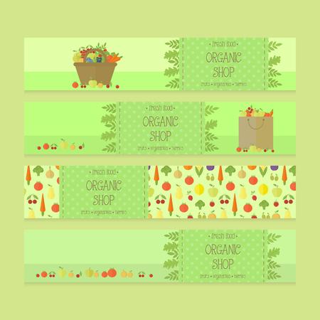 food shop: Organic food shop business advertising banner, flyer templates. Vector elements. Fruits and vegetables in basket, bag in flat design