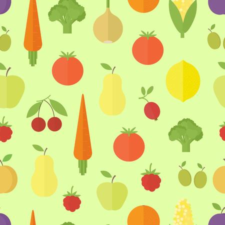 kitchen cartoon: De fondo sin fisuras con las frutas y verduras en el fondo verde. Dise�o plano. Ilustraci�n vectorial Vectores