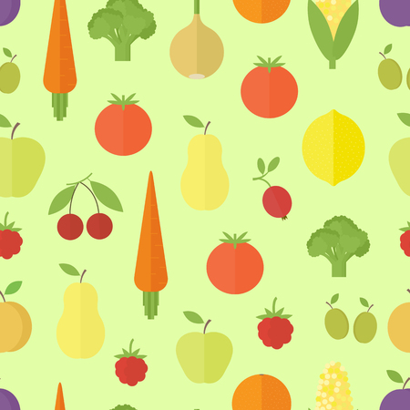 Seamless background with fruits and vegetables on green background. Flat design. Vector illustration Ilustrace